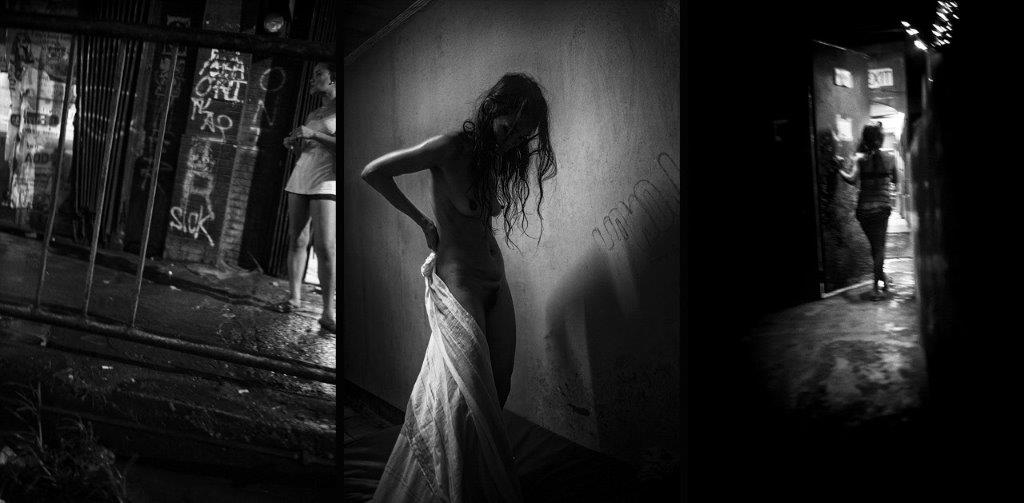 Femmes au drapé prostituée Colon street Cebu Philippines photo de Guy Monnet noir et blanc de la série cris dans la nuit