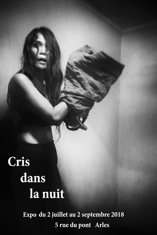 Affiche de l'exposition Cris dans la nuit par Guy Monnet à Arles